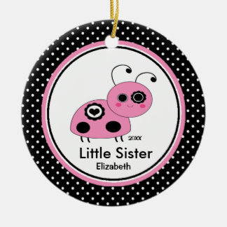 Pink Ladybug  Little Sister Christmas Ornament