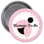 Pink Ladybug Mummy To Be Baby Shower Button