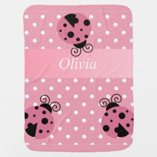 Pink Ladybug Personalized Baby Blanket
