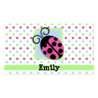 Pink Ladybug, Pink, Blue, Green, Polka Dots Double-Sided Standard Business Cards (Pack Of 100)
