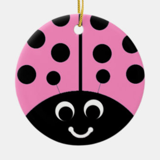 pink ladybug round ceramic decoration