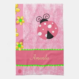 Pink Ladybug Tea Towel