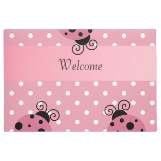 Pink Ladybug Welcome Doormat