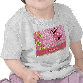 Pink Ladybug Yellow Flowers, Name Template Tshirt