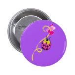 Pink Ladybug Yellow Ribbon 6 Cm Round Badge