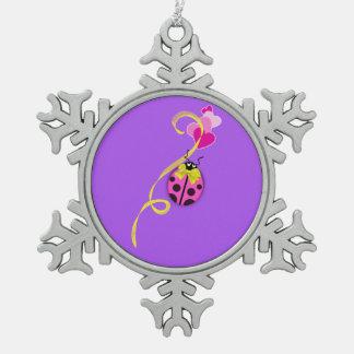 Pink Ladybug Yellow Ribbon Pewter Snowflake Decoration