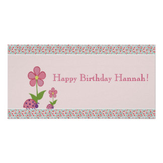 Pink Ladybugs Birthday Banner Poster