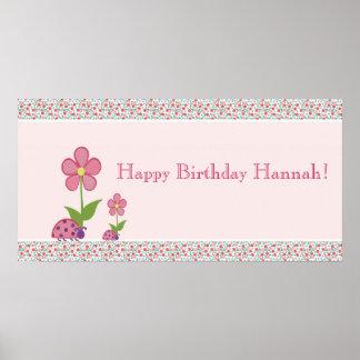 Pink Ladybugs Birthday Banner Print