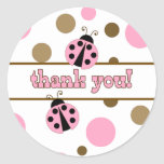 Pink Ladybugs Thank You Stickers