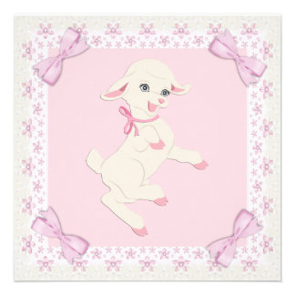 Pink Lamb Baby Girl Shower Invitation