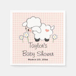 Pink Lamb Girl Baby Shower Disposable Napkins