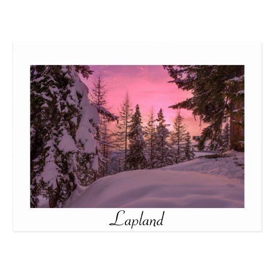 Pink Lapland sunset white text postcard