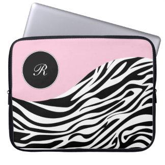 Pink Laptop Monogram Zebra Sleeves