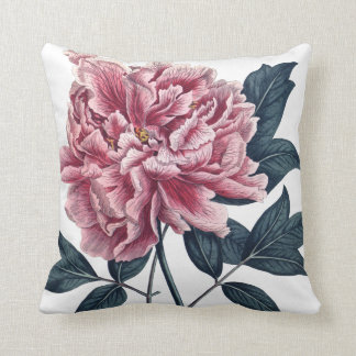 Pink large peony flower cushion