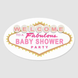 Pink Las Vegas Baby Shower Sign Stickers