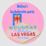Pink Las Vegas Bachelorette Round Sticker