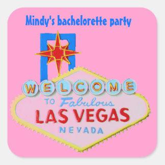 Pink Las Vegas Bachelorette Square Stickers
