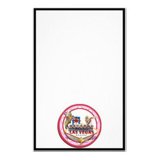 Pink Las Vegas Poker Chip Stationery Paper