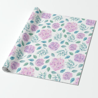Pink & Lavender Flowers Pattern Wrapping Paper