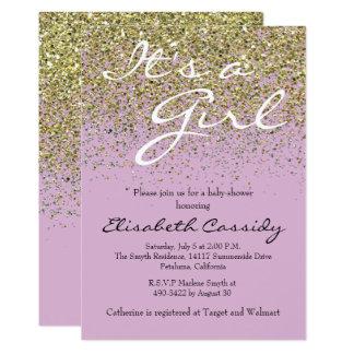 pink Lavender  & Gold Glitter  Baby Shower Invite