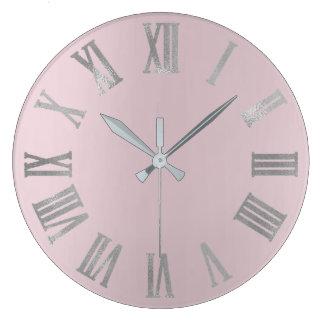 Pink Lavender Gray Minimal Metallic Roman Numers Large Clock