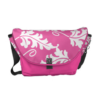 Pink Leaf Bold Botanical Nature Pattern Messenger Bags