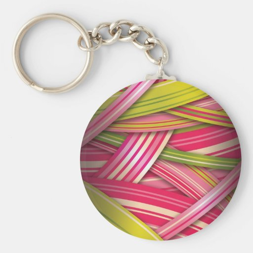Pink Leaf Flowing Ribbons Basic Round Button Key Ring