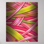 Pink Leaf Flowing Ribbons Posters