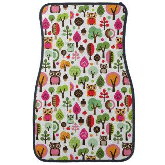 pink leaf tree retro owl pattern car mat