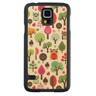 pink leaf tree retro owl pattern carved maple galaxy s5 case