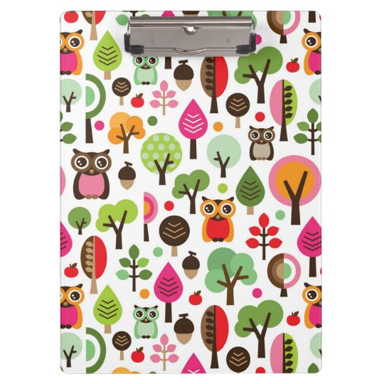 pink leaf tree retro owl pattern clipboard