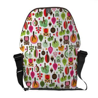 pink leaf tree retro owl pattern commuter bag