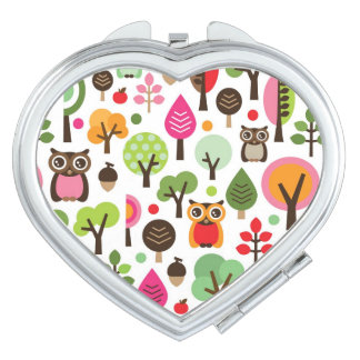 pink leaf tree retro owl pattern compact mirror