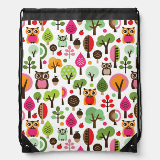 pink leaf tree retro owl pattern drawstring bag