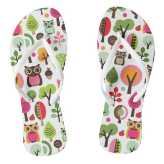 pink leaf tree retro owl pattern flip flops