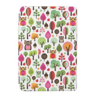 pink leaf tree retro owl pattern iPad mini cover