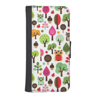 pink leaf tree retro owl pattern iPhone SE/5/5s wallet case