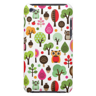 pink leaf tree retro owl pattern iPod touch case