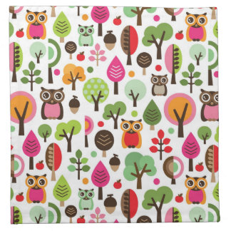 pink leaf tree retro owl pattern napkin