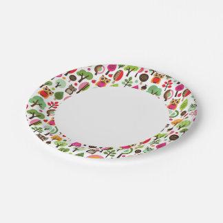 pink leaf tree retro owl pattern paper plate