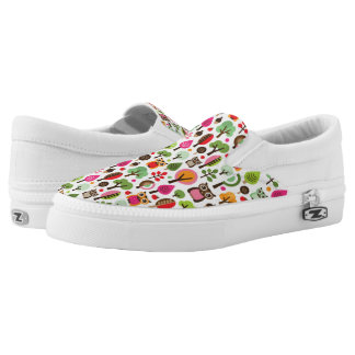 pink leaf tree retro owl pattern Slip-On shoes