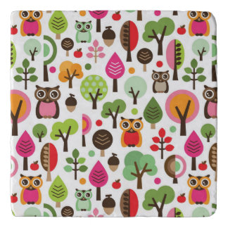 pink leaf tree retro owl pattern trivet