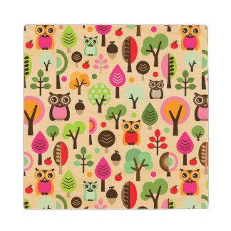 pink leaf tree retro owl pattern wood coaster