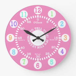 Pink Learning to Tell Time Large Clock