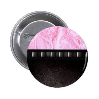 Pink Leather and Lace 6 Cm Round Badge