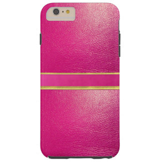 Pink Leather and Suede Gold Line iPhone Case