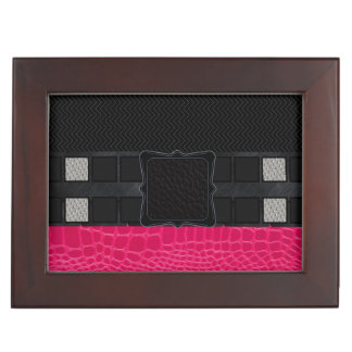Pink Leather Monogram Keepsake Boxes