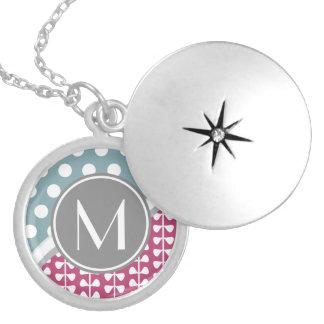 Pink Leaves Dots Custom Monogram Silv Round Locket