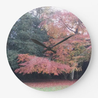 Pink leaves pretty colourful autumn tree large clock