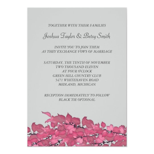 Pink Leaves Wedding Invitations